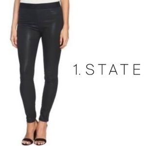 1.State Skinny Coated Black Jeans